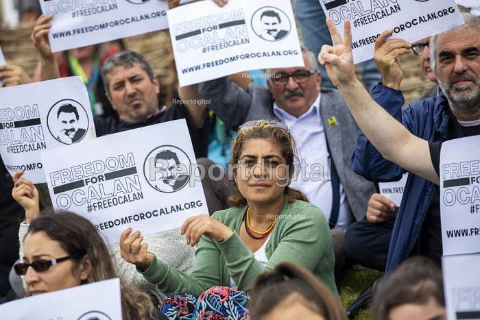 Freedom for Abdullah Ocalan, Kurdish political prisoner in Turkey, Tolpuddle Martyrs Festival, Dorset. - Jess Hurd - 2019-07-21