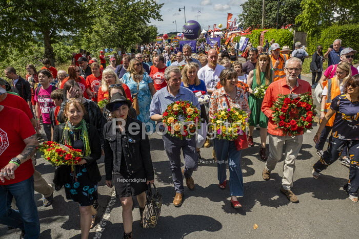 Jeremy Corbyn, Frances O'Grady TUC and Mark Serwotka, PCS at Tolpuddle Martyrs Festival, Dorset. - Jess Hurd - 2019-07-21