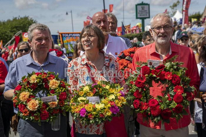Mark Serwotka PCS, Frances O'Grady TUC and Jeremy Corbyn, Tolpuddle Martyrs Festival, Dorset - Jess Hurd - 2019-07-21