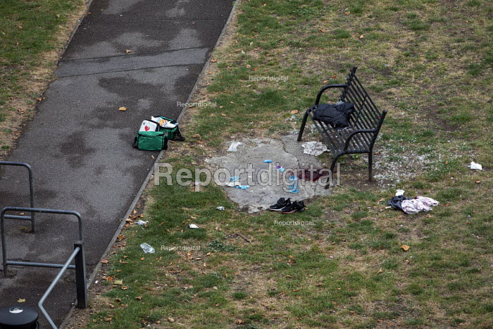 Stabbing crime scene with pool of blood visible on an E3 estate, Tower Hamlets, East London. 16 year old victim received non life threatening injuries - Jess Hurd - 2019-07-25