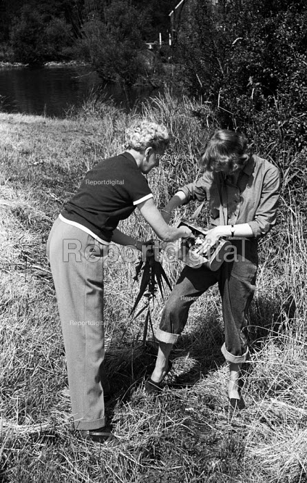 People collecting samples,Field Studies around Flatford Mill near the River Stour, East Bergholt, Suffolk 1958 - Kurt Hutton - 1958-06-05