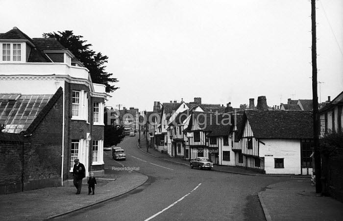 The High Street, mediaeval village of Lavenham Suffolk 1958 - Kurt Hutton - 1958-10-20