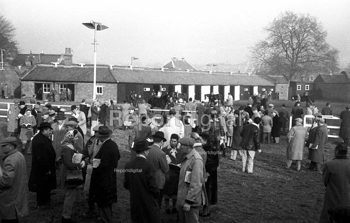 Tattersalls Newmarket Stables Cambridgeshire 1958. Buyers gathering at the annual bloodstock auction sales for racehorses - Kurt Hutton - 1958-12-03