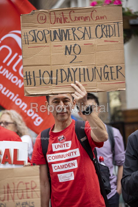 Protest against Universal Credit and holiday hunger, Unite Community National Day of Action against Poverty, St Pancras Church House foodbank, Trussell Trust, London. - Jess Hurd - 2019-08-01