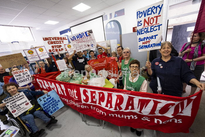 Protest against Universal Credit and holiday hunger, Unite Community National Day of Action against Poverty, St Pancras Church House foodbank, Trussell Trust, London - Jess Hurd - 2019-08-01