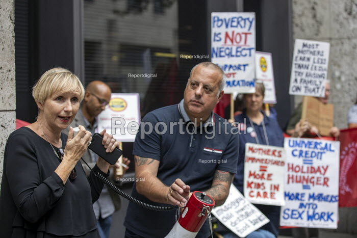 Liane Groves Unite organiser speaking. Protest against Universal Credit and holiday hunger, Unite Community National Day of Action against Poverty, DWP, Caxton House, London - Jess Hurd - 2019-08-01