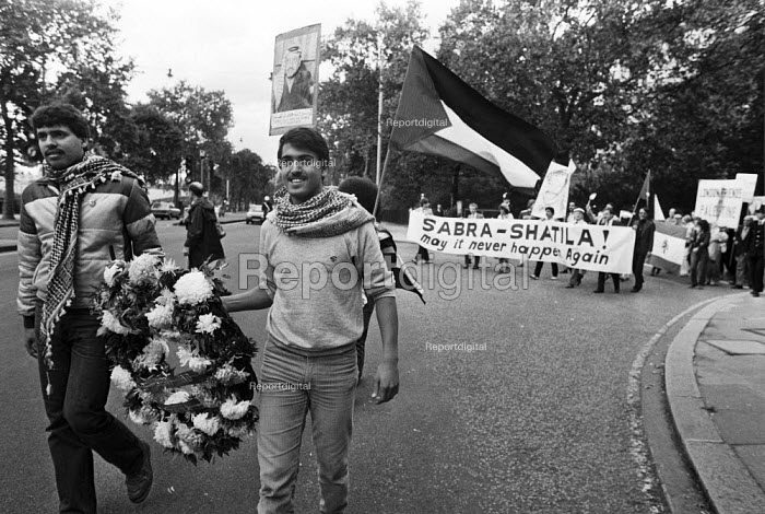 1983 First Anniversary march of the massacres at the Sabra and Shatila refugee camps in Lebanon by Phalangist forces (allied to Israel) inwhich several thousand Palestinian civilians were murdered. London - NLA - 1983-09-17