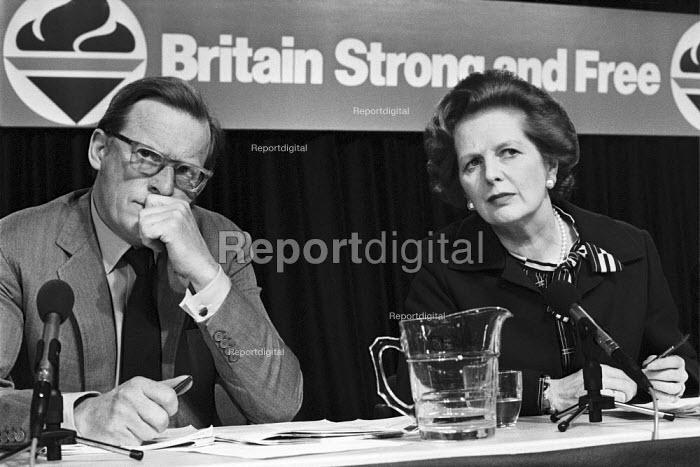 Tom King, Margaret Thatcher, General election press conference London 1983 - NLA - 1983-05-26