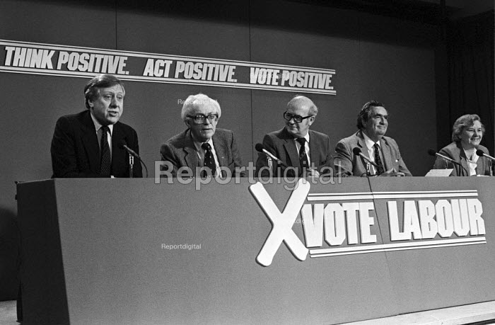 General Election 1983. Labour Party Press conference, Roy Hattersley, Michael Foot, Jim Mortimer, Dennis Healey, Gwyneth Dunwoody - NLA - 1983-05-31