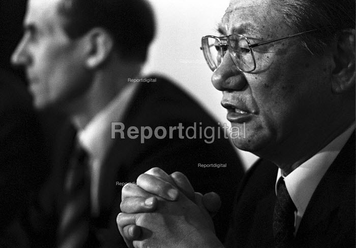 Takashi Ishihara (R), President of Nissan Motor company and Norman Tebbitt MP 1984 press conference in London announcing the new Nissan car factory to be built in Sunderland in the North East - NLA - 1984-02-01