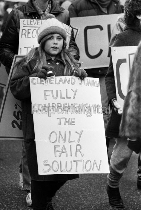 Protest in support of comprehensive education, Ilford, East London 1984. Cleveland Junior Fully Comprehensive The only solution - NLA - 1984-03-03