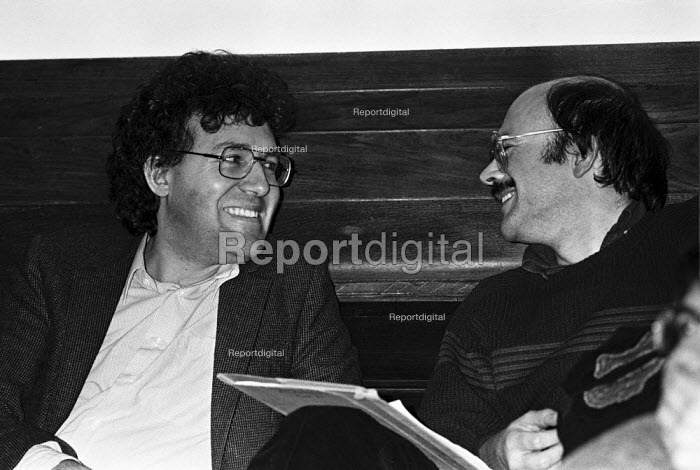 Peter Hain (L) and editor Martin Jacques, Marxism Today joint Labour Party Communist Party meeting, London 1984 - NLA - 1984-02-07