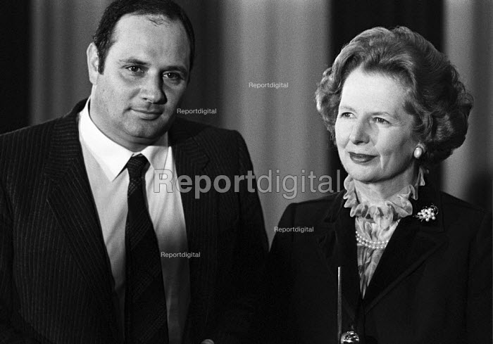 Margaret Thatcher and Eddie Shah, the anti-union owner of the Stockport Messenger, Aims of Industry event, 1984 National Free Enterprise Award - NLA - 1984-10-17
