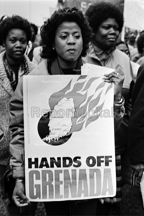 Protest against the US invasion of Grenada, London 1983 - Peter Arkell - 1983-11-02