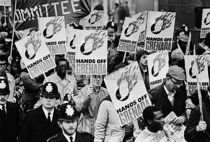 Protest against the US invasion of Grenada, London 1983 - Peter Arkell - 1983-11-05