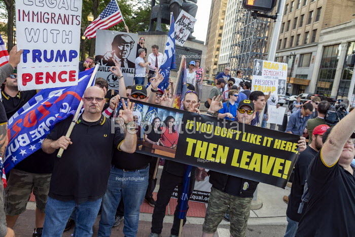 Detroit, Michigan, USA Donald Trump Supporters rally outside the first Democratic Presidential Debate. If You Don't Like It Then Leave! slogan with a photograph of Rashida Tlaib, Ilhan Omar, Alexandria Ocasio-Cortez and Ayanna Pressley - Jim West - 2019-07-30