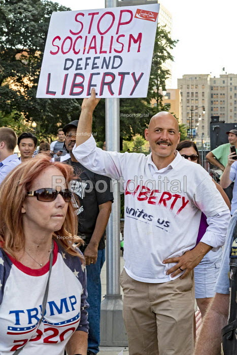Detroit, Michigan, USA Donald Trump Supporters rally outside the first Democratic Presidential Debate. Stop Socialism Defend Liberty slogan - Jim West - 2019-07-30