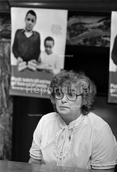 Kathleen Stewart, 1984 mother of Brian who was killed by an army plastic bullet aged 13 in Belfast in 1976, press conference, London. She and her daughter Marie campaigning to expose what they claimed was murder and a cover up by the army. - NLA - 1984-07-06