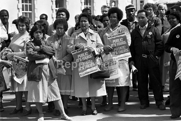 Protest against NHS private contractors, St Barts Hospital London 1985 - NLA - 1985-04-24