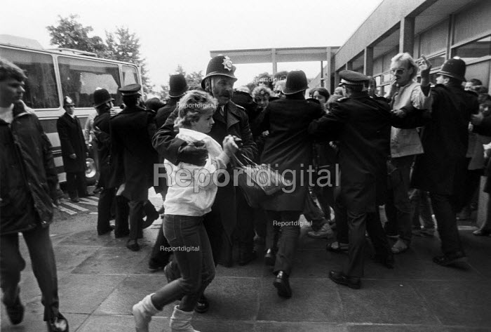 Arrests at a mass picket against privatisation, Barking Hospital, East London, threatened with privatisation of cleaning services - NLA - 1984-08-07