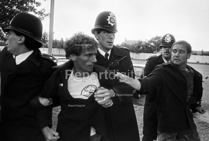 Arrest of a kent miner, mass picket, Barking Hospital, East London, threatened with privatisation of cleaning services - NLA - 1984-08-07