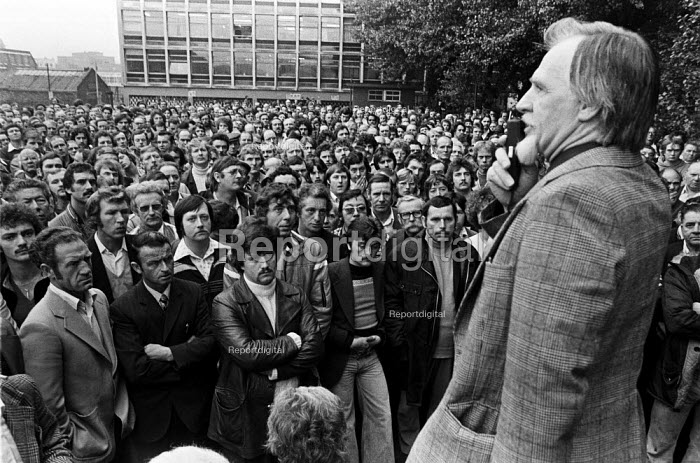 Mass meeting Ford workers Halewood, Liverpool, 1978 at the start of a strike for a �20 pay rise and a shorter week. The strike was a challenge to government policy of wage restraint at the start of the Winter of Discontent - NLA - 1978-09-22