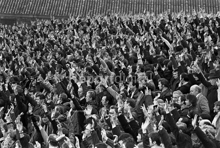Ford workers in Halwood, Liverpool, voting at the meeting where they agreed to return to work at the end of the 8 week strike for a �20 pay increase and a shorter working week. The strike was a challenge to government policy of wage restraint at the start of the Winter of Discontent - NLA - 1978-11-23