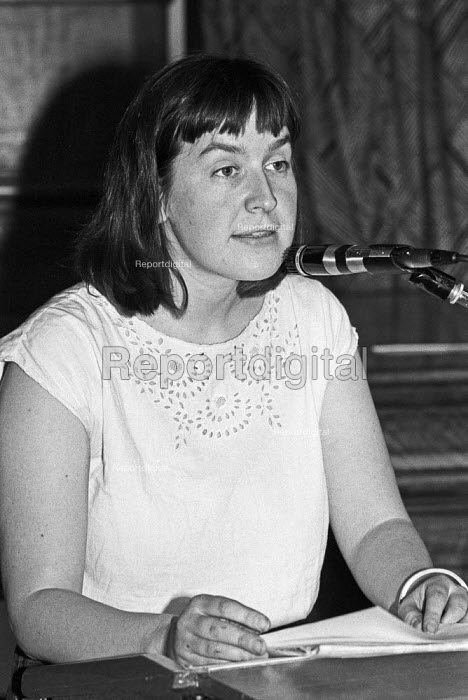 Nina Temple, 1985 press officer of the Communist Party of... - Peter Arkell, PA1907070.jpg