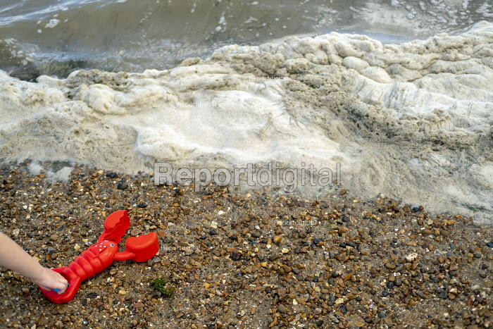 Spume, child and red toy lobster, Leigh-on-Sea, Essex - Jess Hurd - 2019-08-08