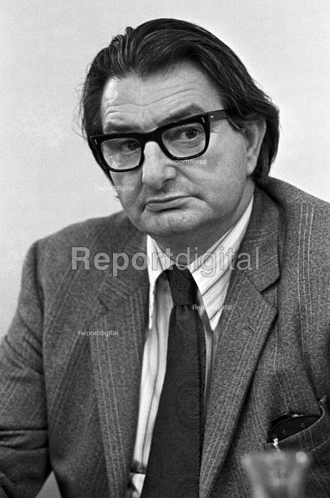 Eric Heffer announcing The National Enterprise Board, press conference, London 1975 - Peter Arkell - 1975-04-09