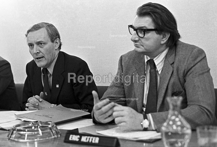 Tony Benn (L) and Eric Heffer announcing The National Enterprise Board, press conference, London 1975 - Peter Arkell - 1975-01-17