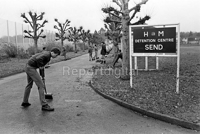 Youth at Send Detention Centre, Woking, Surrey, 1979. Short, sharp shock correction centre. - Martin Mayer - 1979-11-27