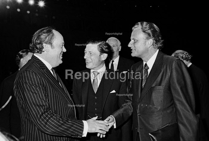 American evangelist Billy Graham (R) meeting Lord Soames, Institute of Directors Annual Conference, 1971 London - Martin Mayer - 1971-11-02