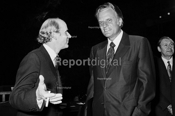 American evangelist Billy Graham (L) with Anthony Barber, Institute of Directors Annual Conference, 1971 London - Martin Mayer - 1971-11-02