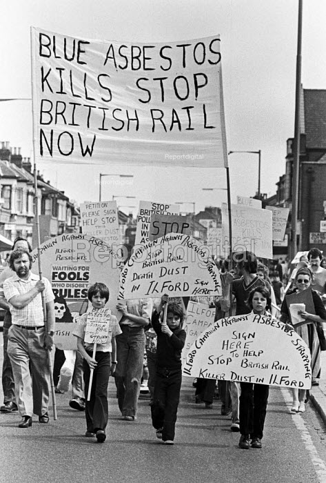 Protest against British Rail removing blue asbestos from a shed, Ilford, East London 1979 - NLA - 1979-06-23