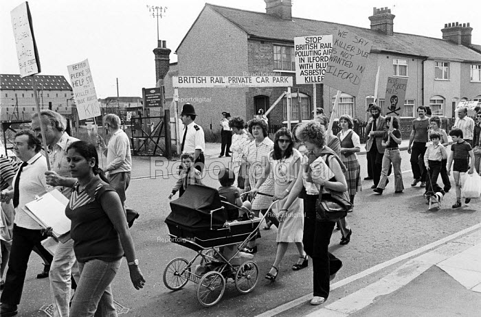 Protest against British Rail removing blue asbestos from a shed, Ilford, East London 1979 - NLA - 1979-12-23