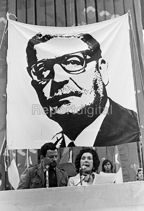 Hortensia Allende, widow of Salvador Allende, president of Chile, speaking at a Chile protest against the Military Coup 1973, London, infront of a banner depicting Salvador Allende - NLA - 1974-09-15