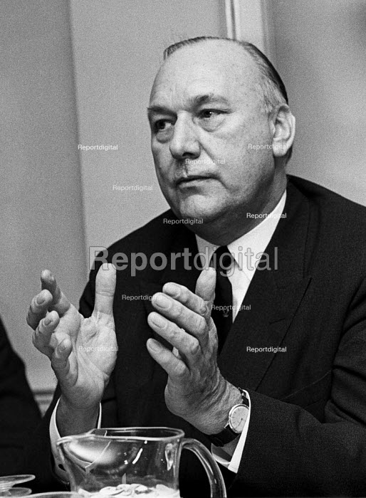 Lord Robens, NCB, launch of his book Ten Year Stint, London 1972. His reputation was tarnished by his failure to have foreseen and prevented the Aberfan disaster, followed by actions widely regarded as insensitive during this disaster's aftermath - NLA - 1972-03-16