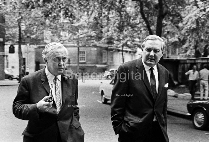 Harold Wilson (L), Jim Callaghan, Labour Party HQ London, 1970 a few days after election defeat - NLA - 1970-06-24