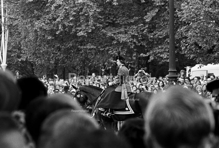 The Queen at the annual Trooping of the Colour, St James Park, London 1972 - Peter Arkell - 1972-06-03
