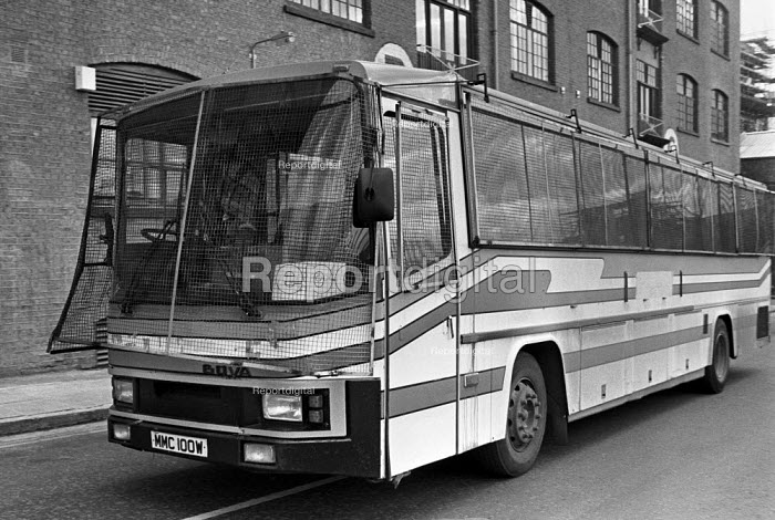 One of the buses used to ferry strike-breakers past the picket lines at Fortress Wapping, East London, 1986 where the News International titles were printed by EETPU members and by non-union labour after the sacking of the 6,000 regular printers. - Peter Arkell - 1986-02-28