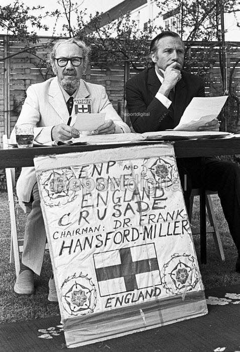 Frank Hansford-Miller, John Stonehouse, London 1976, English National Party press conference, garden of Hansford-Miller's house. ENP Save England Crusade - Peter Arkell - 1976-04-21