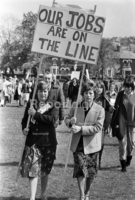 Protest at the closure of the British Rail workshops, Swindon, Wiltshire 1982 with the loss of 3,500 jobs. - Peter Arkell - 1982-05-07