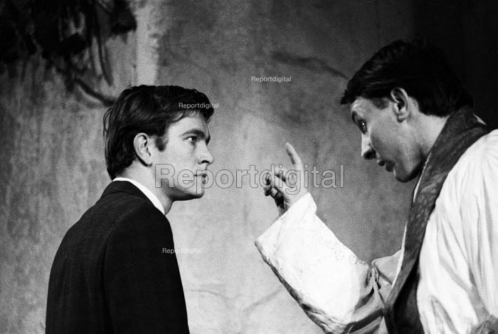 Tom Courtenay as Andri and Robert Stephens as Father Benedict, Andorra by Max Frisch and directed by Lindsay Anderson Old Vic Theatre London 1964Tom Courtenay as Andri and Robert Stephens as Father Benedict, Andorra by Max Frisch and directed by Lindsay Anderson Old Vic Theatre London 1964Tom Courtenay as Andri and Robert Stephens as Father Benedict, Andorra by Max Frisch and directed by Lindsay Anderson Old Vic Theatre London 1964Tom Courtenay as Andri and Robert Stephens as Father Benedict, Andorra by Max Frisch and directed by Lindsay Anderson Old Vic Theatre London 1964 - Romano Cagnoni - 1964-01-28