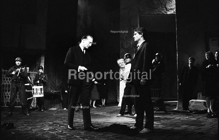 Peter Cellier as The Jew Detector (L) and Tom Courtenay as Andri (R) in Andorra by Max Frisch and directed by Lindsay Anderson Old Vic Theatre London 1964Peter Cellier as The Jew Detector (L) and Tom Courtenay as Andri (R) in Andorra by Max Frisch and directed by Lindsay Anderson Old Vic Theatre London 1964Peter Cellier as The Jew Detector (L) and Tom Courtenay as Andri (R) in Andorra by Max Frisch and directed by Lindsay Anderson Old Vic Theatre London 1964Peter Cellier as The Jew Detector (L) and Tom Courtenay as Andri (R) in Andorra by Max Frisch and directed by Lindsay Anderson Old Vic Theatre London 1964 - Romano Cagnoni - 1964-01-28