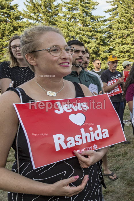Detroit, Michigan, USA: Jewish Shabbat service to support Congresswoman Rashida Tlaib after the government of Israel denied her permission to visit Israel and Palestine. Organised by Jewish Voice for Peace Action - Jim West - 2019-08-16