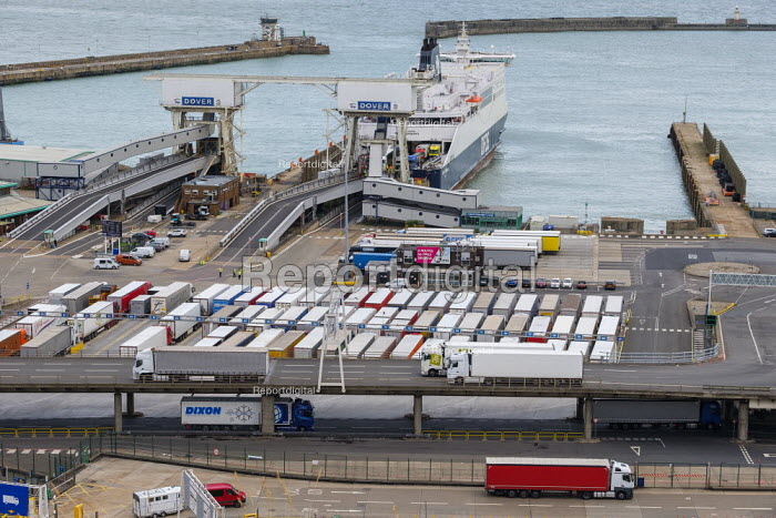 Lorries waiting to board a cross channel ferry at the Eastern Docks, Port of Dover, Kent. - Philip Wolmuth - 2019-08-15
