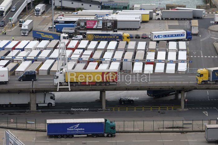 Lorries waiting to board a cross channel ferry at the... - Philip Wolmuth, pw1908010.jpg