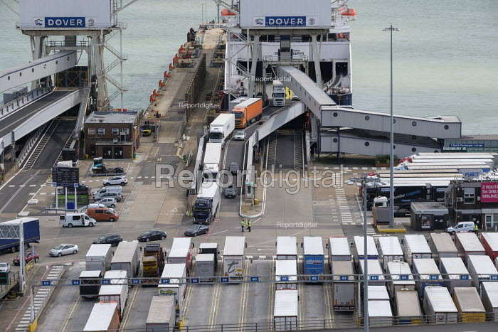 Lorries disembarking from a cross channel ferry at the Eastern Docks, Port of Dover, Kent. - Philip Wolmuth - 2019-08-15