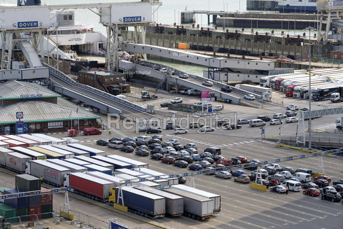 Lorries and cars waiting to board a cross channel ferry at the Eastern Docks, Port of Dover, Kent. - Philip Wolmuth - 2019-08-15